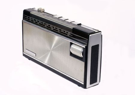 eighties: Retro portable radio of seventies and eighties design