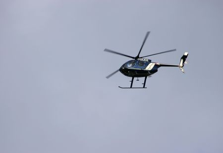 Helicopter flying above