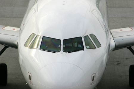 bulbous: Cockpit and nose of airliner
