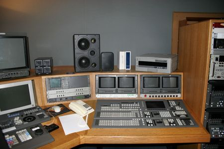 TV Studio gallery with monitors and mixers photo