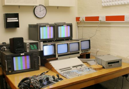 TV Sudio gallery with vision mixer and monitor bank photo