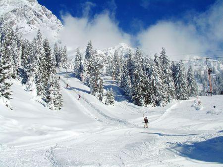 tyrol: Skier in Austrian Alps