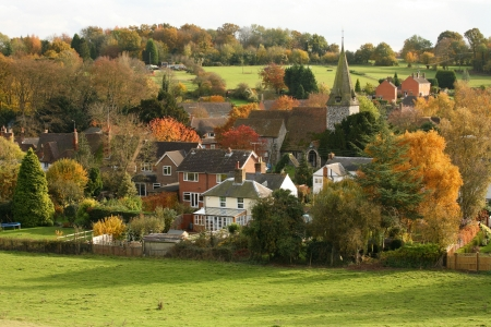 English Village scene with church in Autumn in Kent