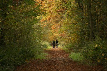 2 women walking along woodland path in Autumn Stock Photo