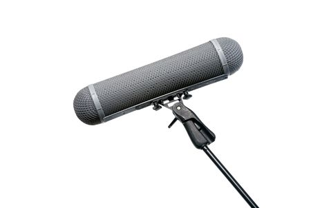 baffle: Location Microphone wind protection basket on boom mic Stock Photo