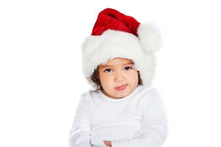 Kleinkind Mädchen mit dem Hut in santa  Standard-Bild