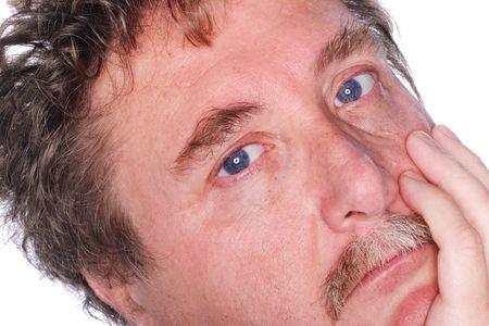 De près d'un homme d'âge moyen avec une moustache  Banque d'images - 668322