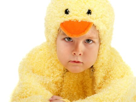 Young boy dressed in a chicken suit photo