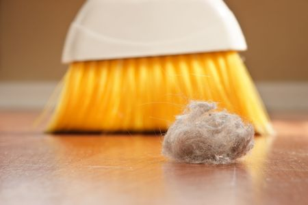sweeping: A large clump of dust being swept up with a broom Stock Photo