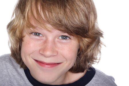 Close up of a smiling preteen boy