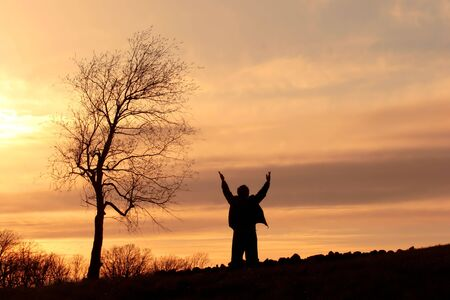 hand lifted: Silhouette of a man on a hill standing by a tree with his arms lifted in the air