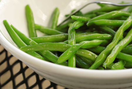 blanch: Closeup of a bowl of sauteed Green Beans