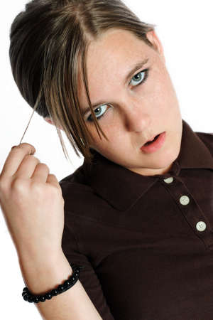 apathy: A teenage girl with an annoyed expression Stock Photo