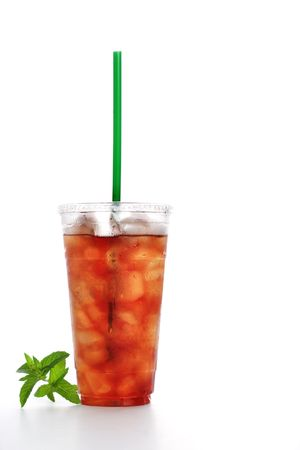 iced tea: Gourmet to Go (a plastic cup of iced tea with a straw)