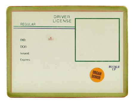 visible: Blank drivers license with visible old paper texture, scratchs