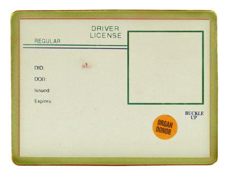 Blank rijbewijs met zichtbare oud papier textuur, scratchs