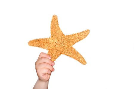 beachcombing: Young boy holding a starfish up in the air. Stock Photo