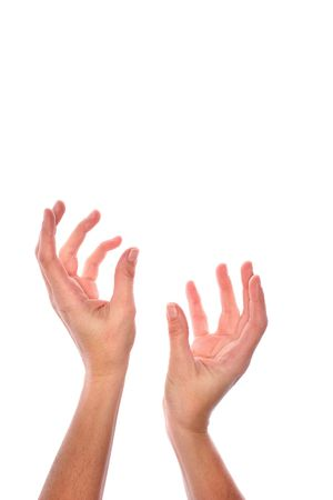 Empty hands stretching upwards, grasping, waiting, open, or letting something go