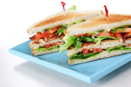 Restaurant style bacon lettuce and tomato sandwich on toast
