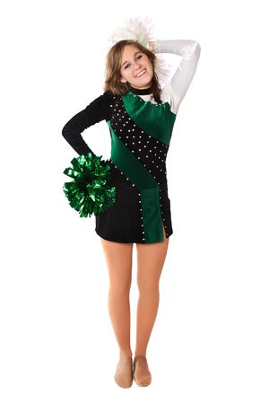 Beautiful young woman poses in a Pom Pon uniform photo