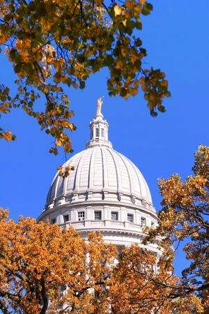 A view of the capital dome looking through fall trees photo