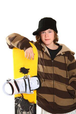 Teenager waiting to go snowboarding. photo