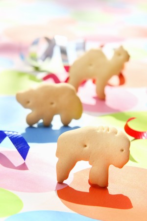 Animal crackers standing on a festive background Reklamní fotografie