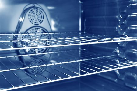 the interior of a modern convection oven