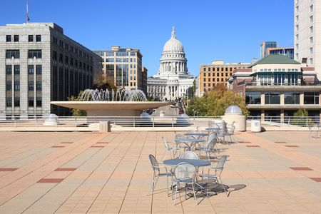 a view of the Wisconsin State Capital from the patio on top of the Monona Terrace.  Stock Photo - 5030501