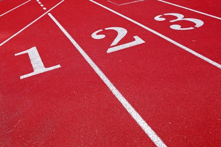 a close up of a red track with the numbers one two three Reklamní fotografie