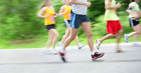 motion blur of runners in a marathon