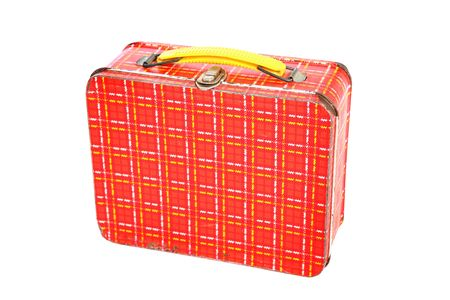 lunch box: a vintage red plaid metal lunch box  Stock Photo