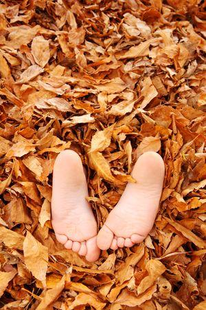 twee kinderen houden hun voeten uit een stapel van bladeren
