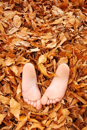 two children stick their feet out of a pile of leaves