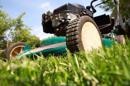 ein schließen bis der eines Rasenmähers schneiden Gras