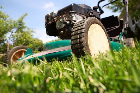 a close up of a lawnmower cutting the grass