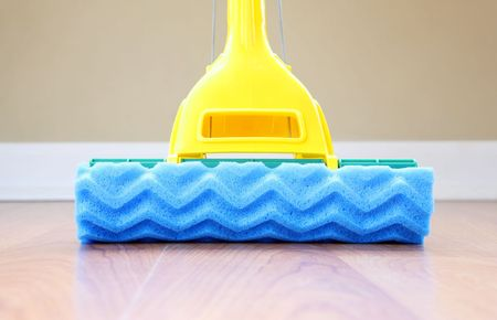 a close up of a mop on the floor