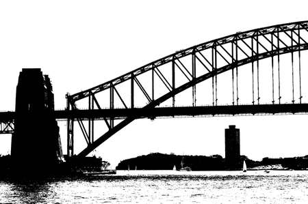 etch: Black and white picture of part of the harbour bridge. Gives the feeling of olden times - perhaps when it was first built.