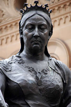 heir: Statue of Queen Victoria in front of the QVB, Sydney, Australia.