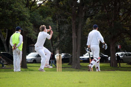 bowler: A cricket bowler about to bowl a delivery