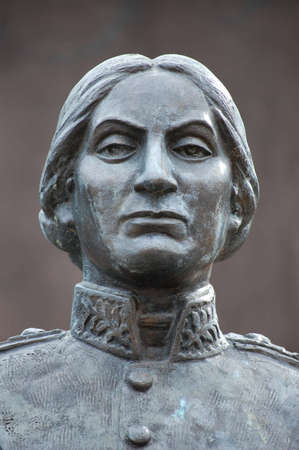 colonel: Statue of Juana Azurduy de Padilla - Guerilla fighter for the independence of Bolivia from spanish rule Stock Photo