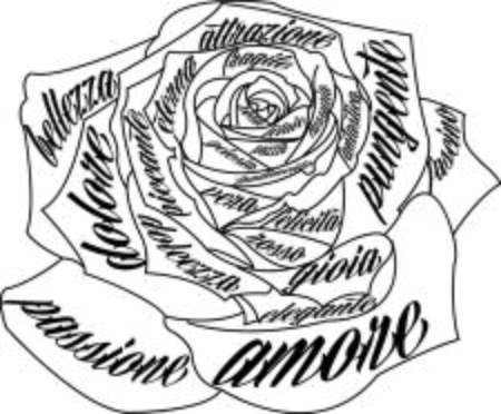 caligraphy: roses writing Illustration