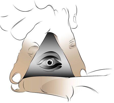 illuminati: triangle illuminated hands