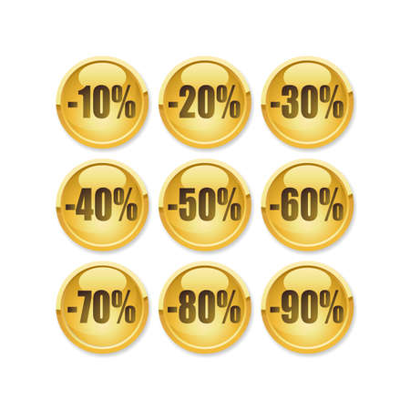 A fully scalable vector illustration of Discount gold button Stock Vector - 4232314