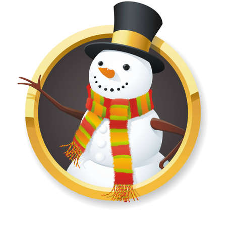 A fully scalable vector illustration of Snowman on white background