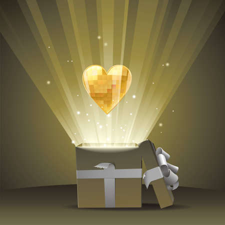 A fully scalable vector illustration of Valentine gift of heart Vector