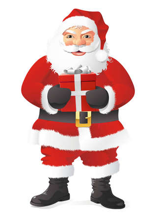 A fully scalable vector illustration of Santa Claus with gift Illustration