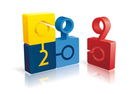 A fully scalable vector illustration of puzzle 2009 on white background