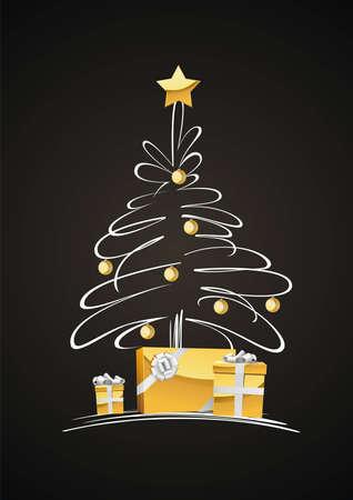 schaalbaar: Een volledig scalable vectorillustratie van de kerstboom. Prettige kerstdagen!