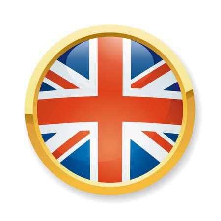 bandera inglaterra: Una ilustraci�n vectorial completamente escalable de Inglaterra bandera bot�n Vectores